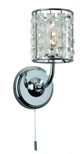 Firstlight 6150CH Chrome with Crystal Pearl Single Wall Light (Switched)